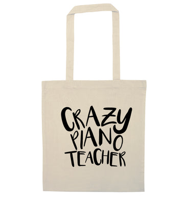 Crazy piano teacher natural tote bag