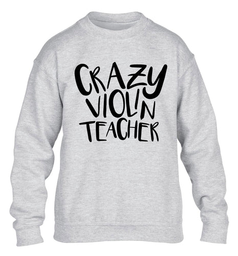 Crazy violin teacher children's grey sweater 12-13 Years