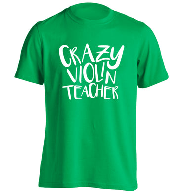 Crazy violin teacher adults unisex green Tshirt 2XL