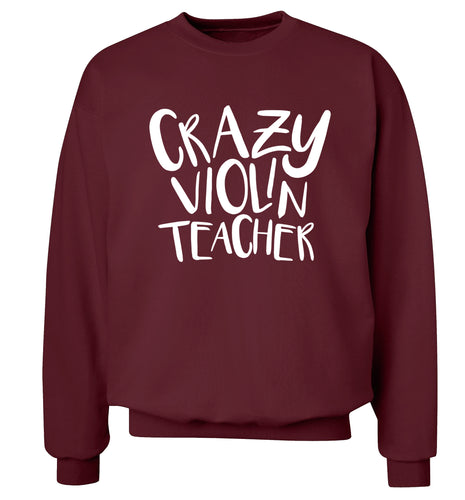 Crazy violin teacher Adult's unisex maroon Sweater 2XL