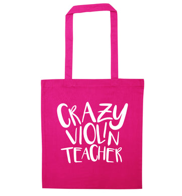 Crazy violin teacher pink tote bag