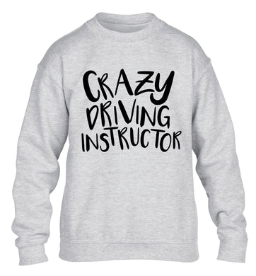 Crazy driving instructor children's grey sweater 12-13 Years