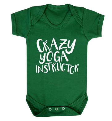 Crazy yoga instructor Baby Vest green 18-24 months
