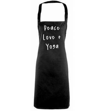 Peace love and yoga black apron
