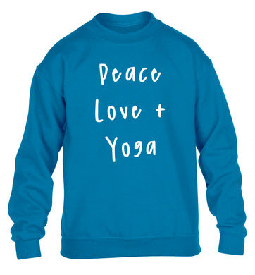 Peace love and yoga children's blue sweater 12-13 Years