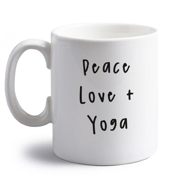 Peace love and yoga right handed white ceramic mug