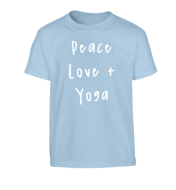 Peace love and yoga Children's light blue Tshirt 12-13 Years