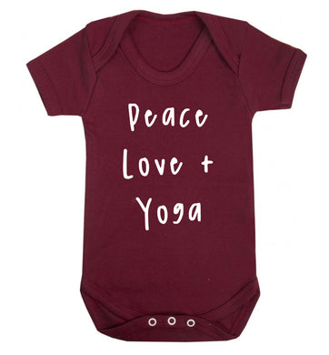 Peace love and yoga Baby Vest maroon 18-24 months