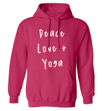 Peace love and yoga adults unisex pink hoodie 2XL