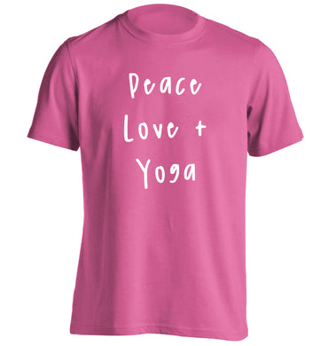 Peace love and yoga adults unisex pink Tshirt 2XL