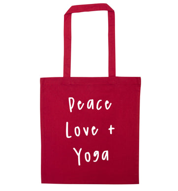 Peace love and yoga red tote bag