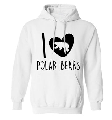 I Love Polar Bears adults unisex white hoodie 2XL