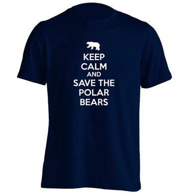 Keep calm and save the polar bears adults unisex navy Tshirt 2XL