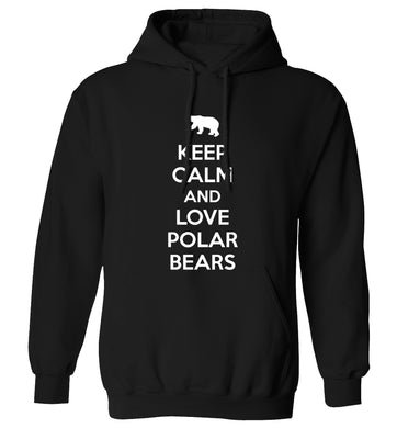 Keep calm and love polar bears adults unisex black hoodie 2XL