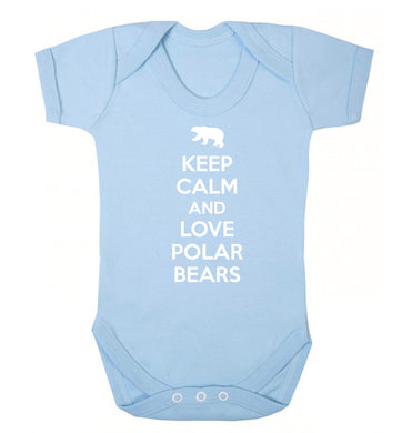 Keep calm and love polar bears Baby Vest pale blue 18-24 months