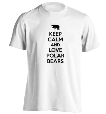 Keep calm and love polar bears adults unisex white Tshirt 2XL