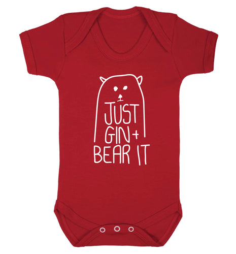Just gin and bear it Baby Vest red 18-24 months