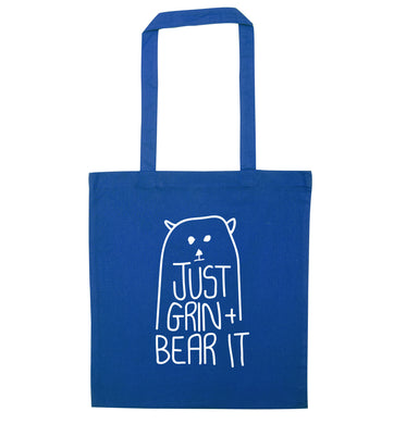 Just grin and bear it blue tote bag