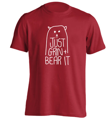 Just grin and bear it adults unisex red Tshirt 2XL