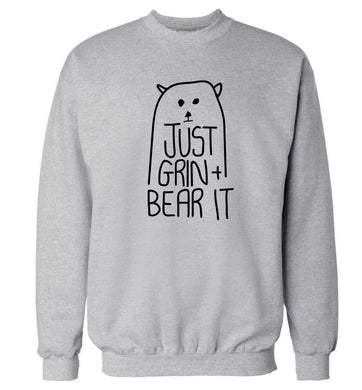 Just grin and bear it Adult's unisex grey Sweater 2XL