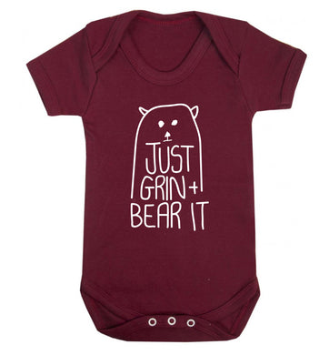 Just grin and bear it Baby Vest maroon 18-24 months