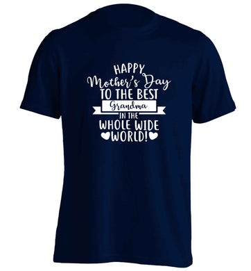 Happy mother's day to the best grandma in the world adults unisex navy Tshirt 2XL