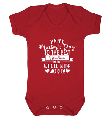 Happy mother's day to the best grandma in the world baby vest red 18-24 months