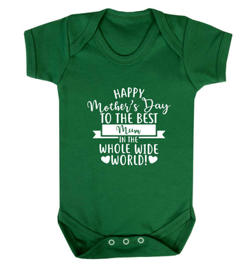 Happy mother's day to the best mum in the world baby vest green 18-24 months