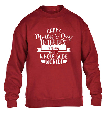Happy mother's day to the best mum in the world children's grey sweater 12-13 Years