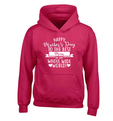 Happy mother's day to the best mum in the world children's pink hoodie 12-13 Years