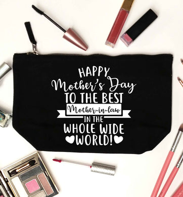 Happy mother's day to the best mother-in law in the world black makeup bag