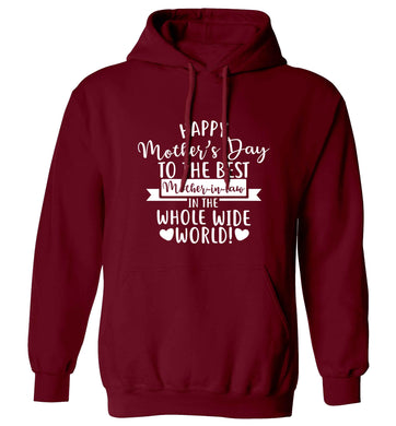 Happy mother's day to the best mother-in law in the world adults unisex maroon hoodie 2XL