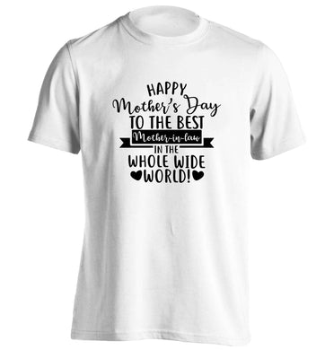 Happy mother's day to the best mother-in law in the world adults unisex white Tshirt 2XL