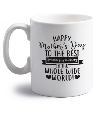 Happy mother's day to the best guinea pig mum right handed white ceramic mug