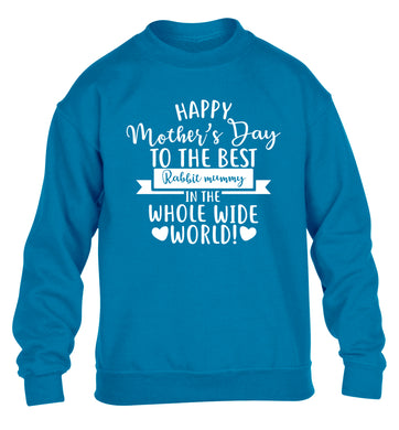 Happy mother's day to the best rabbit mummy in the world children's blue sweater 12-13 Years