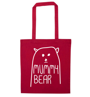 Mummy bear red tote bag