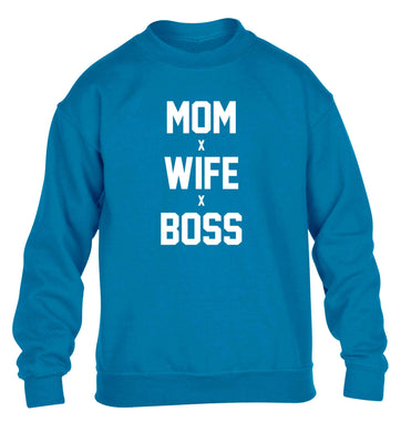 Mum wife boss children's blue sweater 12-13 Years