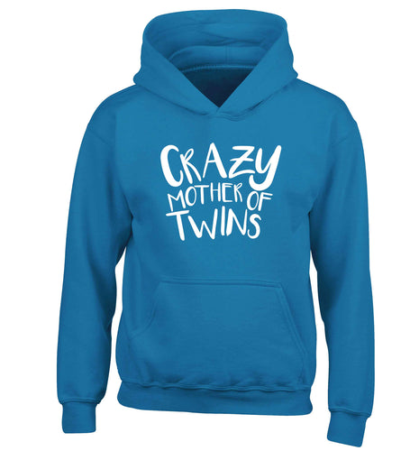 Crazy mother of twins children's blue hoodie 12-13 Years