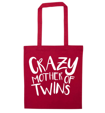 Crazy mother of twins red tote bag