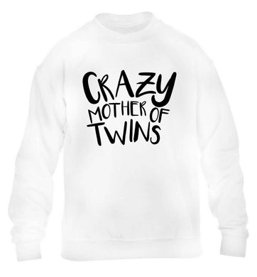 Crazy mother of twins children's white sweater 12-13 Years