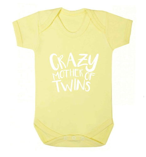 Crazy mother of twins baby vest pale yellow 18-24 months