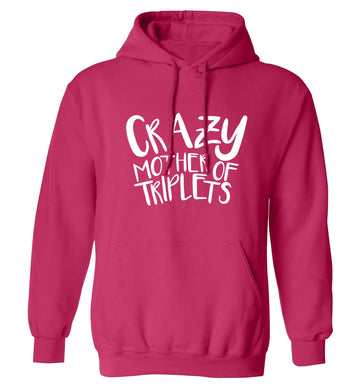 Crazy mother of triplets adults unisex pink hoodie 2XL