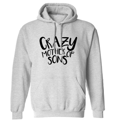 Crazy mother of sons adults unisex grey hoodie 2XL