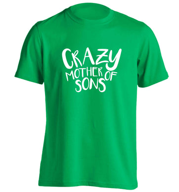 Crazy mother of sons adults unisex green Tshirt small