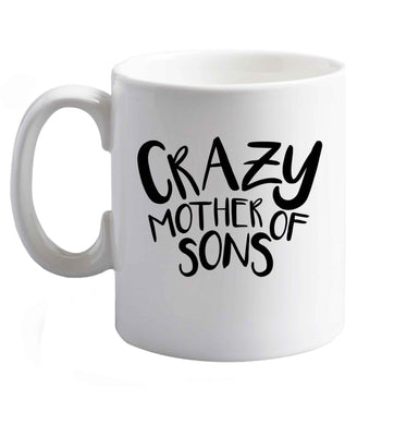 10 oz Crazy mother of sons ceramic mug right handed