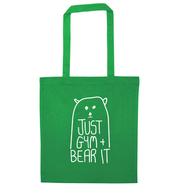 Just gym and bear it green tote bag