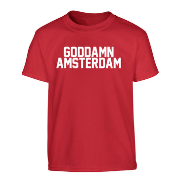 Goddamn Amsterdam Children's red Tshirt 12-13 Years