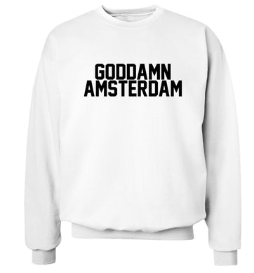 Goddamn Amsterdam Adult's unisex white Sweater 2XL