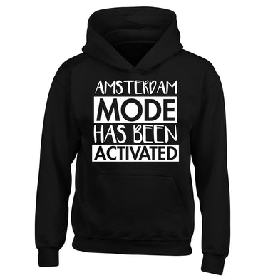 Amsterdam mode has been activated children's black hoodie 12-13 Years