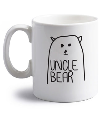 Uncle bear right handed white ceramic mug
